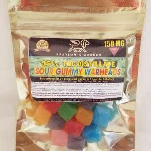 BABYLONS GARDEN THC Sour Gummy Warheads – 150 MG. Bag